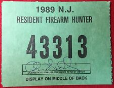 New Jersey 1989 Resident Firearm Hunting License
