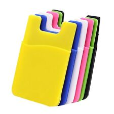 Silicone Wallet Credit Card Cash Stick Adhesive Holder Case For iPhone Cell S1P8