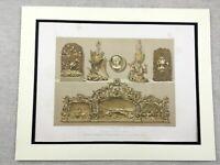 1862 Print Ornamental Woodwork Carvings Rare Antique Chromolithograph