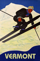 Vermont Ski Winter Sport Jumping Mountain  Vintage Poster Repro FREE S/H