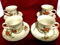 Mikasa Heritage F2010 Capistrano Set Of 4 Each Cups & Saucers JAPAN