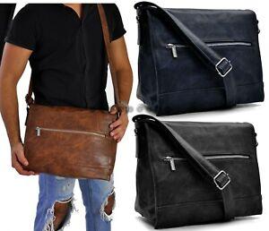 Borsa Uomo Tracolla Pelle  Lavoro Ufficio Messenger Bag Porta Laptop Casual