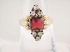 Antique Victorian 12k rose gold mine cut diamond square garnet ring sz 7 Ca 1860
