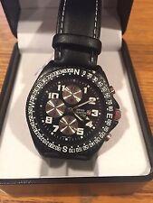 NEU Herren Swiss Hunter 30 M schwarz Leder Armbanduhr