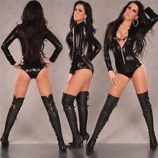 Plus Size Sexy Black Gold Women Wetlook Vinyl PVC Mini Dress Bodycon Clubwear