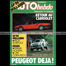 AUTO HEBDO N°435 FERRARI 250 LM, SWB, GTO & MONDIAL RENAULT 5 R5 FANGIO 1984