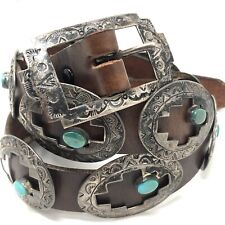 167g 38in Signed Law D Stamped Navajo Concho Belt Turquoise Sterling Silver Vtg