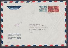 Switzerland Sc 3O80, 3O85 on 1955 ILO Geneva cover to ILO Washington, DC