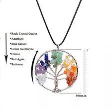 Tree of Life Pendant Necklace Natural Crystal Quartz Gemstone 7 Chakra Healing