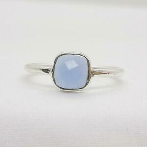 Genuine 1.00ctw Blue Chalcedony 925 Sterling Silver Ring Size 7