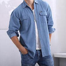 Herren Jeans Hemd Denim Hemden Langarm Shirt Druckknopf Vintage Polo