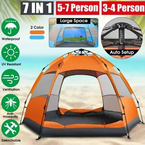 7 In 1 Automatically Set Up Large Camping Tent,  5-7 People