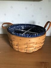 Reduced 1996 Longaberger Darning Basket W Liner 4 Way Hard Protector And 2 Loops