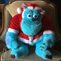 "Monsters Inc HUGE 32"" Sully Plush Disney Store Exclusive Christmas Santa - Rare"