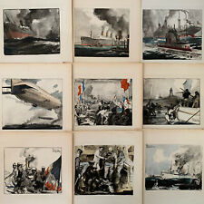 Charles Fouqueray Lot 118 Gravures Lithographies Marine Navale Paquebot Guerre