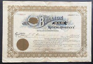 BULLION BAR MINING CO Stock 1907 Silverton, Colorado President C.P. Campbell SIG