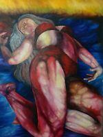 ORIGINAL ART AFTER LUCIEN FREUD DARK MODERNISM FEMALE STRANGE COLORS
