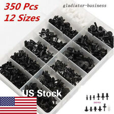 350PCS Car Plastic Rivet Fastener Mud Flap Bumper Fender Push Clips Moulding Kit