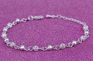 925 Sterling Silver Filigree Shine Hollow Ball Anklet Chain Ankle Beach UK Sell