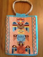 Wool NEEDLEPOINT PURSE Southwest Style Bamboo Handles Artist Completed