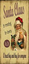 Santa Christmas Shaby Chic Old Fashioned  Plaque Wooden Gift