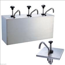 3 Bucket Sauce Dispenser Pump Squeeze Condiment Dispensing Stainless Steel J