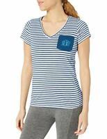 Columbia Women's PFG Fishing Monogram Tee T-Shirt White/Navy Stripe Size Medium