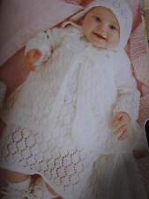 baby knitting pattern newborn dress jacket and bonnet 3 ply