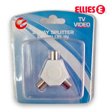 PAL TV Antenna Splitter Double Adapter 1 Male Plug to 2 Female Sockets - Premium