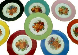 Vintage M & R Dessert / Luncheon Plates France - Colorful Fruit & Grapes Set 8