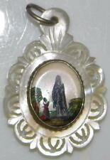 Antique Hand Painted Miniature on CARVED MOTHER Of PEARL Holy Medal Lourdes BVM