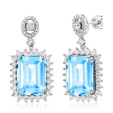 Blue Topaz Drop Earrings Blue Emerald Cut Princess Earring with Crystals ITALY