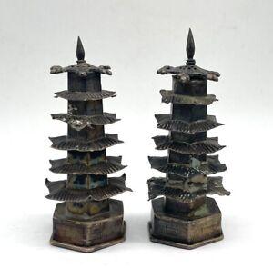 Vintage Sterling Silver Chinese Pagoda Salt & Pepper Shakers--Unpolished