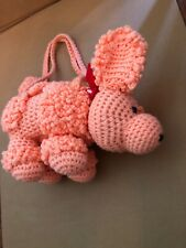 Peach Homemade Yarn poodle dog stuffed animal vintage Purse Unique