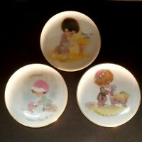 Precious Moments Xmas Collectors Plates Johnathan & David 1978 Set - 3 Mini RARE