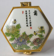 CHARMING @ Porcelain Jewelry box painted chrysanthemum flowers & Chinese insects