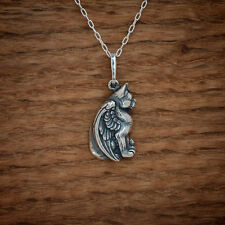 Handcast 925 Sterling Silver Winged Cat Angel Pendant FREE Cable Link Chain