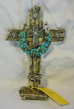 Beautiful Decorative Free Standing Western Cross With Horseshoe and Turquois