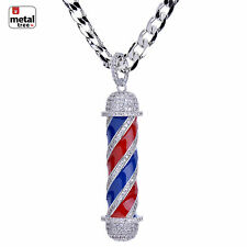 Men's Silver Plated Diamond Barber Shop Pendant Cuban Chain Necklace BCH 15108 S