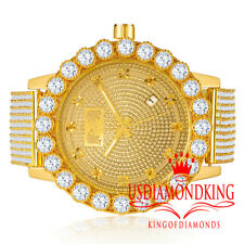 Real Genuine Diamonds Mens Stainless Steel Gold Tone Chronograph Watch Solitaire