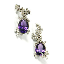 Amethyst Diamant Ohrringe als Clips 3,3 ct 98 Brillanten in 750 Weißgold L: 5 cm