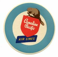 Vintage Airline Luggage Label CANADIAN PACIFIC AIR LINES Beaver
