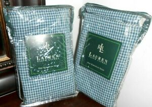New SET of 2 RALPH LAUREN CHADWICK White BLUE Check EUROPEAN SHAMS