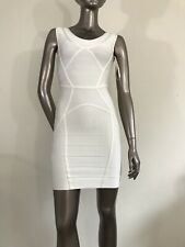 NWOT Herve Leger authentic IMPERFECT sleeveless Off White dress size S