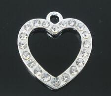 1 Pc Silver Plated Dense Rhinestone Heart Charm Pendants 25x22mm LC2502