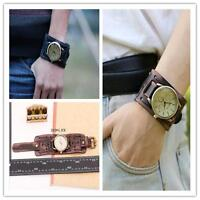 New Style Retro Punk Rock Brown Big Wide Leather Bracelet Cuff Men Watch Hot @M3