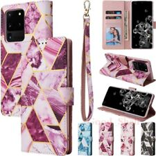 Case For Samsung S20 S10 S10e S9 S8 Note20 Marble Leather Wallet Card Slot Cover