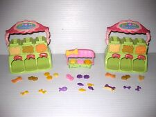 LITTLEST PET SHOP Lot FOOD DISPENSERS, FOOD BOWL STAND, BONE COOKIE CARROT FISH