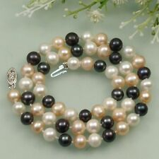 Fashion AA 7-8mm Black White Pink Cultured Fresh Water Akoya Pearl Necklace 18''