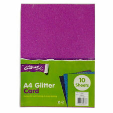 10 A4 Vibrant Glitter Card Sheets Craft Scrapbooking Green Blue Red Gold Silve